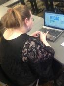 Jessica designing a logo