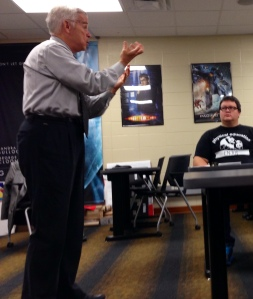 Tom Griscom speaking to students